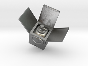 Box Ring  Jewelry (Bigger Size) in Natural Silver: Medium