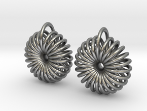 Torus Earrings in Natural Silver