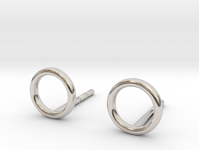 minimal stud earrings in Rhodium Plated Brass