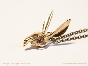 Easter Bunny Skull Pendant in Natural Bronze
