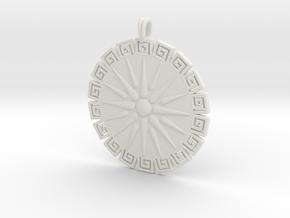 Vergina Sun Pendant Jewelry Symbol in White Natural Versatile Plastic