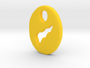 Lightning Bolt Tag/Pendant in Yellow Processed Versatile Plastic