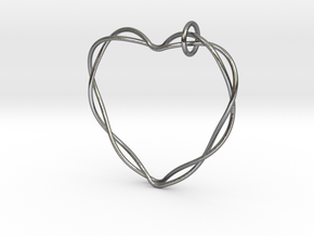 Woven Heart with Bail in Interlocking Polished Silver: Extra Small