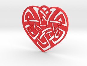 Celtic Heart Pendant in Red Strong & Flexible Polished