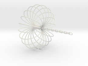 Torus Sculpture pendant 150mm ceiling chain in White Natural Versatile Plastic