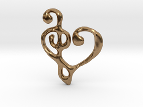 Music Heart Pendant in Raw Brass