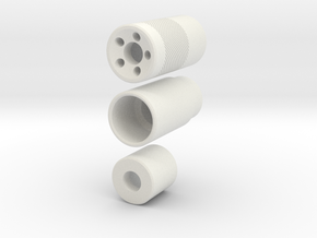 Muzzle Device Part 1 And 2 V4 in White Natural Versatile Plastic