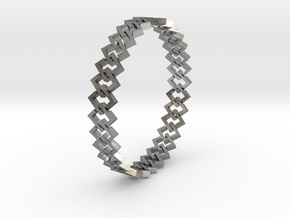 Square Bracelet 2 in Interlocking Raw Silver