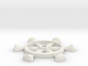 Ship Wheel Pendant in White Natural Versatile Plastic: Small