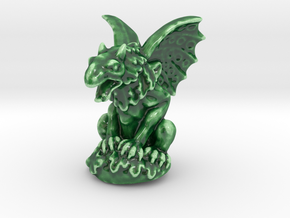 Dragon Gargoyle Sculpture  in Gloss Oribe Green Porcelain