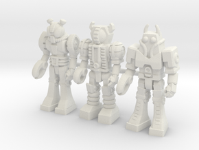 Waruders at Attention, 3 35mm Minis in White Natural Versatile Plastic