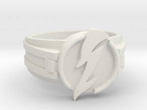 V3 Wavy Flash Ring Size 14 23.01mm in White Natural Versatile Plastic