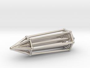 Phi Vogel Crystal - Inner Geometry - 6 sided in Rhodium Plated Brass