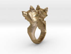 Nuzzling foxes in Polished Gold Steel: 7.5 / 55.5