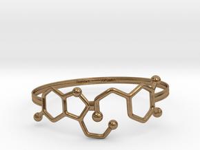 Serotonin Dopamine Bracelet Embossed 75mm in Natural Brass