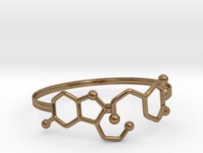 Serotonin Dopamine Bracelet Embossed 70mm in Natural Brass