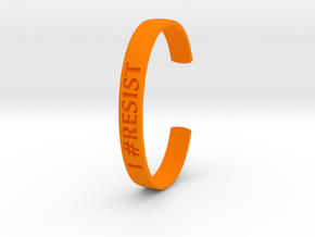I RESIST Text Cuff (Large-nylon) in Orange Processed Versatile Plastic