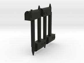 MB1, 1/32 Scale Rural Mailboxes, 4 pcs in Black Natural Versatile Plastic