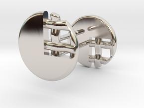 Pie Lattice Earrings 3 in Rhodium Plated Brass