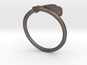 Ginkgo Leaf ring in Polished Bronzed Silver Steel: 6 / 51.5