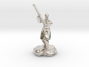 Human Monk With Staff in Rhodium Plated Brass