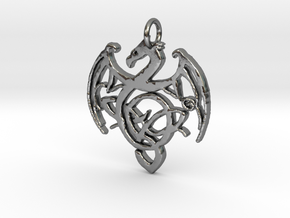 Dragon Pendant in Polished Silver