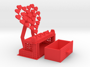 Decorative Mobile Phone Stand with Trinket Box in Red Processed Versatile Plastic