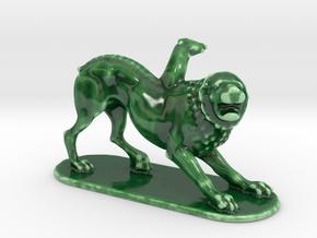 Scared Lion  in Gloss Oribe Green Porcelain