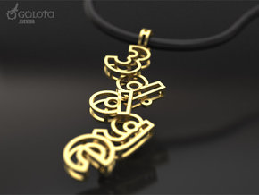 3d-Age pendant in Natural Bronze (Interlocking Parts)