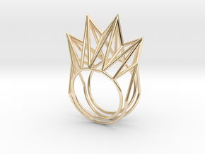 Rhombus Ring (Medium) in 14k Gold Plated Brass: 11 / 64