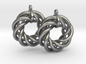 Torus Flower Earrings in Natural Silver