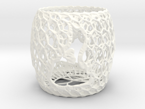 3D Printed Block Island Tea Light 3 in White Processed Versatile Plastic