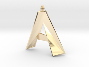 Distorted Letter A in 14K Yellow Gold