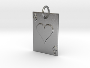 Ace of Hearts Keychain/Pendant in Natural Silver