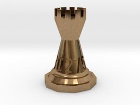 Chess-shaped Dice Set (small) in Natural Brass: d10