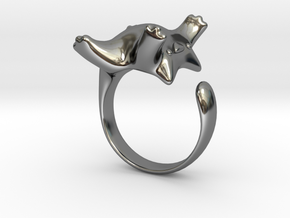 Cat Ring II -the lazy in Fine Detail Polished Silver: 7 / 54