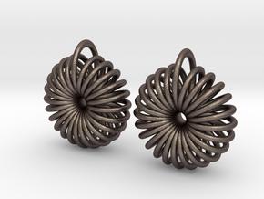 Torus Earrings in Polished Bronzed Silver Steel