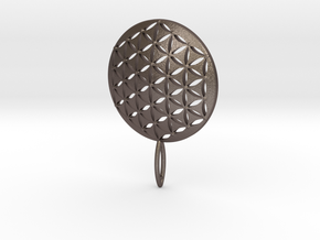 Flower of Life Keychain key fob  in Polished Bronzed Silver Steel