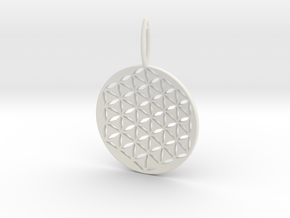 Flower Of Life Pendant Cosmic Jewelry in White Natural Versatile Plastic