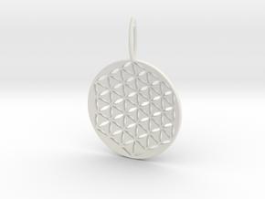 Flower Of Life Pendant Cosmic Jewelry in White Natural Versatile Plastic