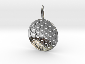 Flower Of Life Pendant Cosmic Jewelry in Fine Detail Polished Silver