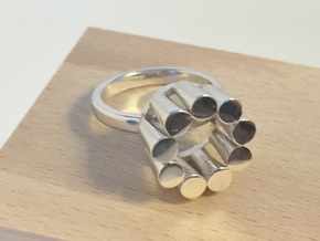 Lampadario Ring in Rhodium Plated Brass