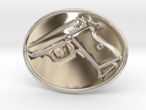PPK GUN Beltbuckle in Rhodium Plated Brass