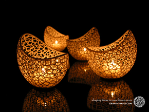 Filigree double wall tealight holder in White Processed Versatile Plastic