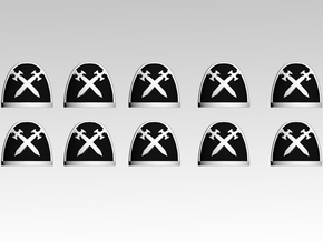 Sable Swords Shoulder Pads With Trim X10 in Frosted Extreme Detail