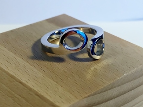 """""""Hex Key"""" Contrarie' Ring in Rhodium Plated Brass"""