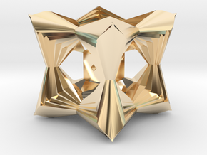 Sequestered D6 in 14k Gold Plated Brass
