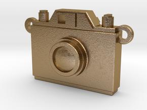 Vintage Film Camera Pendant - Modern Locket in Polished Gold Steel