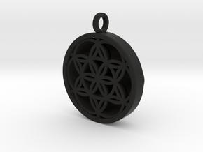 SEED OF LIFE PENDANT in Black Natural Versatile Plastic