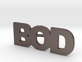 Bod Letters Button in Polished Bronzed Silver Steel